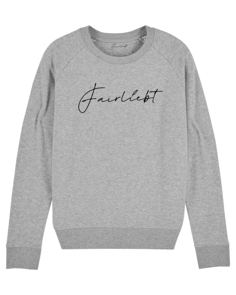 Damen Sweatshirt heather grey, Fairliebt schwarz