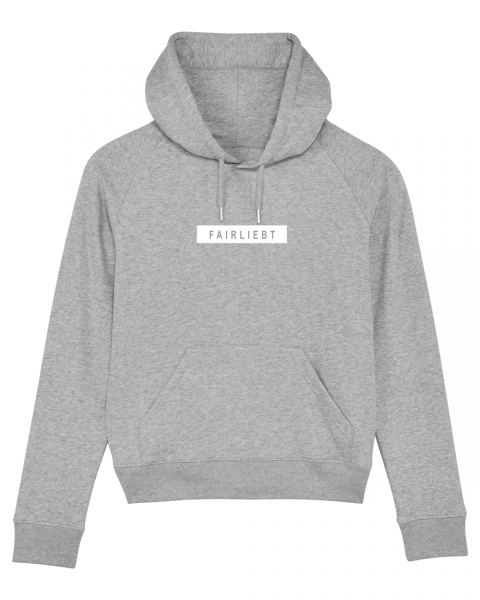 Damen Hoodie heather grey, Fairliebt Block weiß