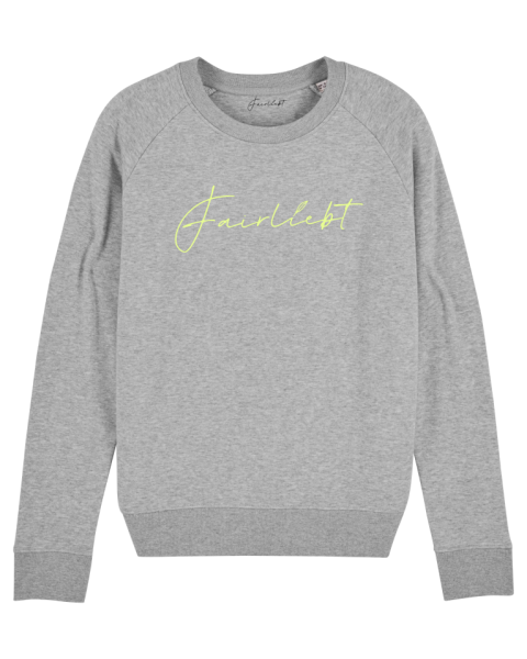 Damen Sweatshirt heather grey, Fairliebt neongelb