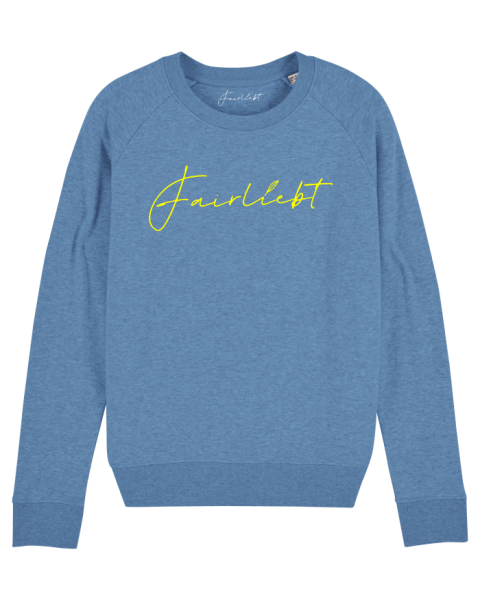 Damen Sweatshirt heather blue, Fairliebt gelb