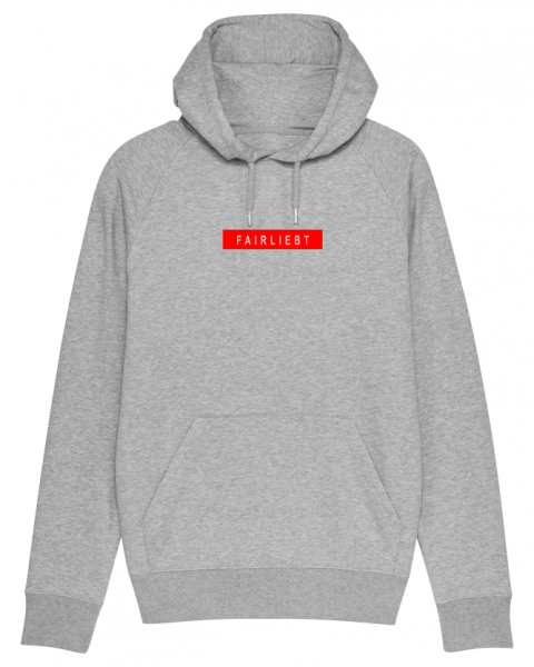 Herren Hoodie heather grey, Fairliebt rot