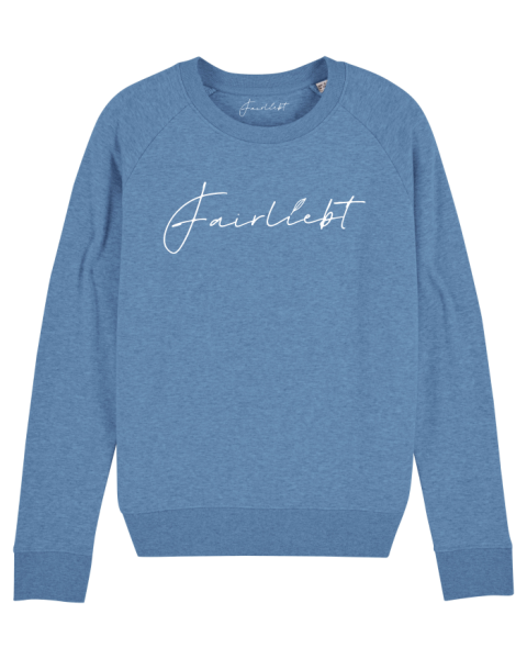 Damen Sweatshirt heather blue, Fairliebt weiß
