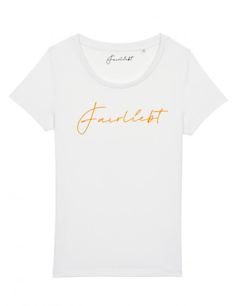"Damen Shirt ""Fairliebt groß neonorange"""